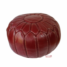Moroccan Pouffe Pouf Ottoman Footstool STUFFED Genuine Burgundy Leather Handmade Hand-stitched